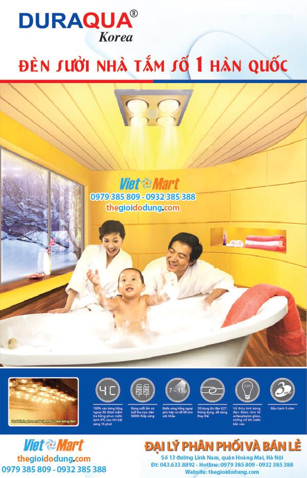 Đại lý phân phối Đèn sưởi nhà tắm Duraqua giá tốt