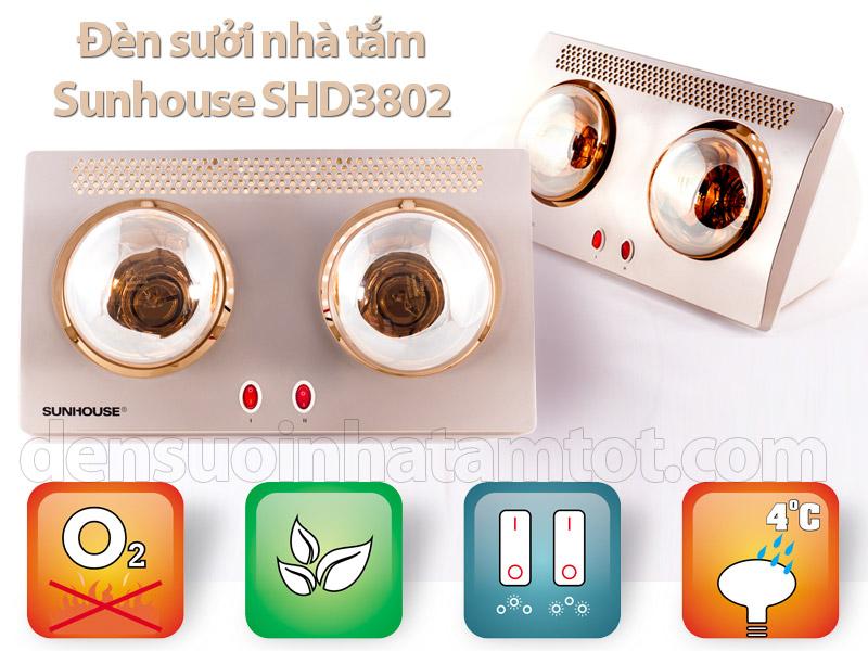 Đèn sưởi ấm nhà tắm Sunhouse SHD3802 giá rẻ chất lượng tốt