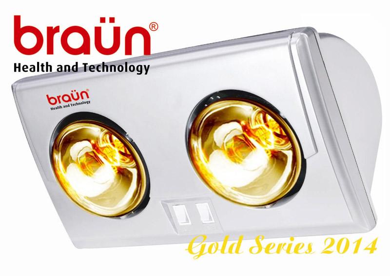 Đèn sưởi nhà tắm Braun 2 bóng vàng BU02G