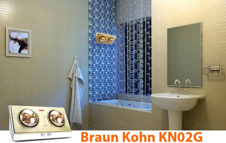đèn sưởi nhà tắm 2 bóng vàng braun kohn kn02g giá rẻ