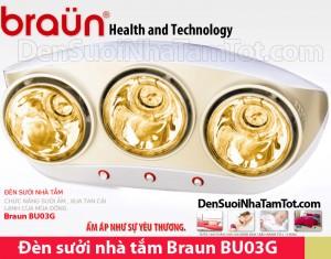 Đèn sưởi nhà tắm Braun 3 bóng vàng BU03G - mặt trước