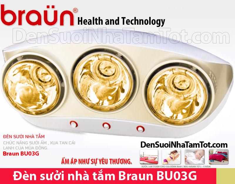 Đèn sưởi nhà tắm Braun 3 bóng vàng BU03G