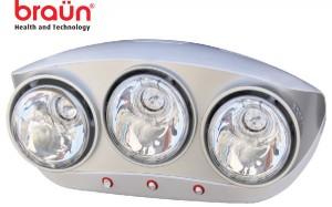 Đèn sưởi nhà tắm 3 bóng Braun BU03 - mặt trước