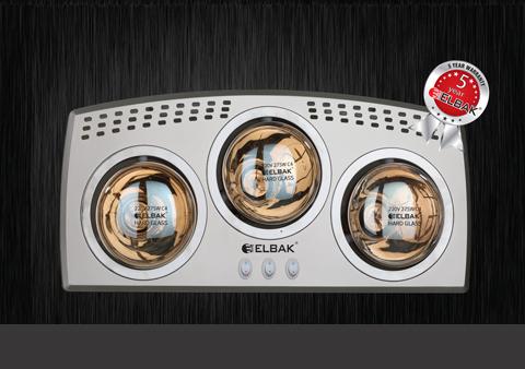 Đèn sưởi nhà tắm 3 bóng Elbak BH-3825H Ba Lan