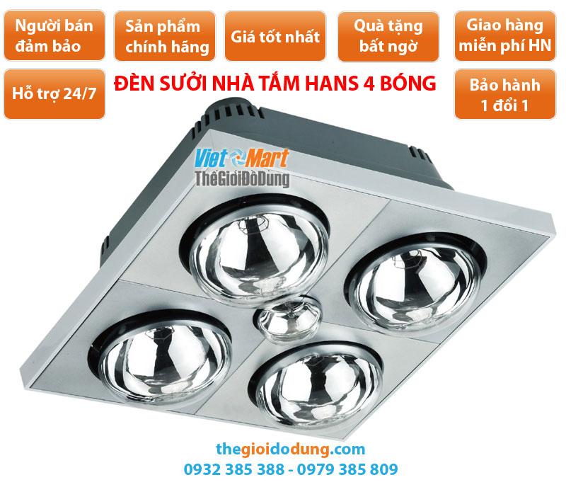 Đèn sưởi nhà tắm Hans 4 bóng treo tường H4B110