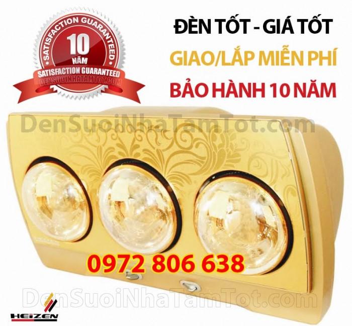 đèn sưởi nhà tắm hans 3 bóng vàng bảo hành 10 năm