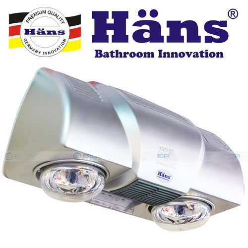 Đèn sưởi nhà tắm Hans 2 bóng có quạt gió nóng