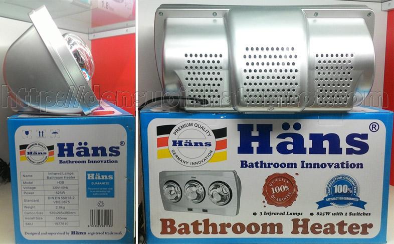 Đèn sưởi nhà tắm Hans H3B 3 bóng mới năm 2015