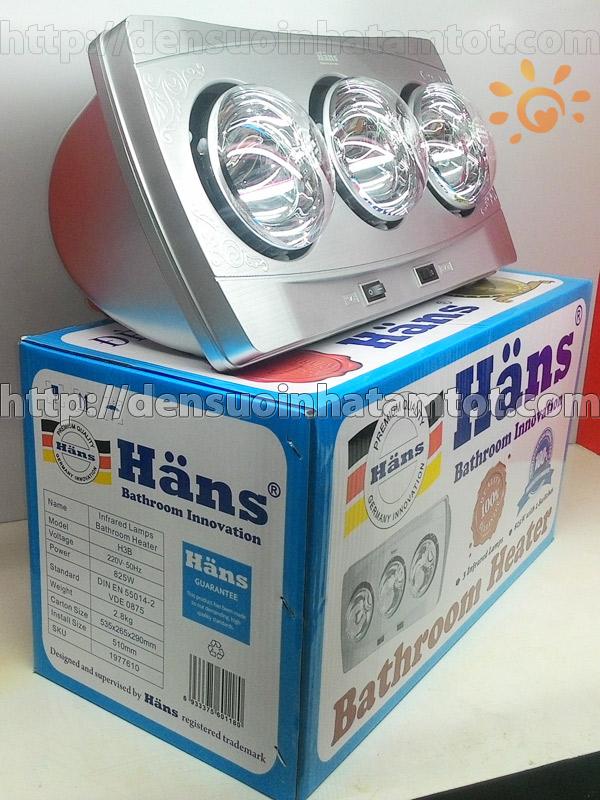 Đèn sưởi nhà tắm Hans H3B 3 bóng mới nhất năm 2015