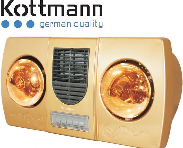 Đèn sưởi nhà tắm Kottmann K2B-HW-G sưởi gió vàng