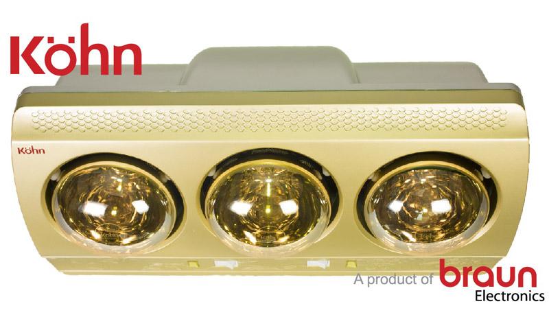 Đèn sưởi nhà tắm Kohn KN03G 3 bóng vàng phía trên