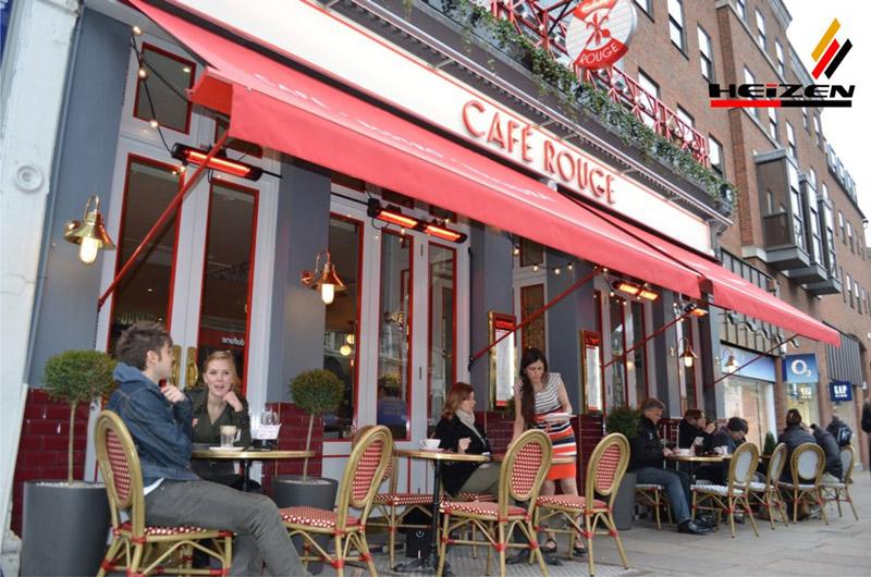 Đèn sưởi không chói mắt lắp  ở các quán cafe ngoài trời