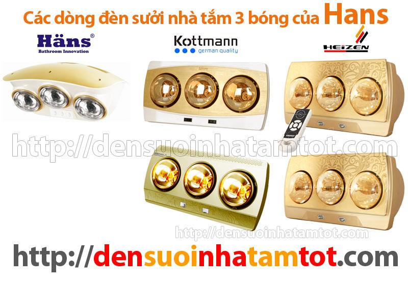 đèn sưởi nhà tắm 3 bóng Hans