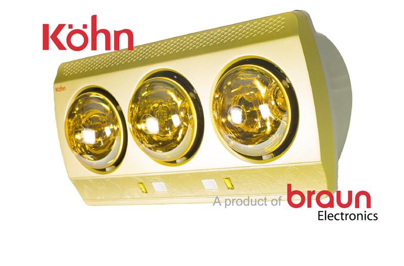 Đèn sưởi nhà tắm Braun Kohn KN03G 3 bóng vàng