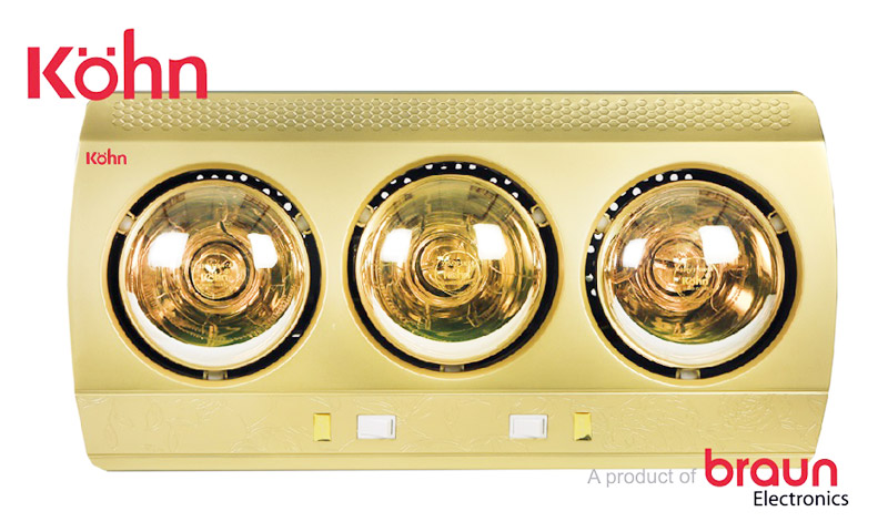 Đèn sưởi nhà tắm Kohn KN03G 3 bóng vàng của Braun