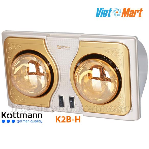 Đèn sưởi nhà tắm Kottmann K2B-H 2 bóng vàng giảm chói