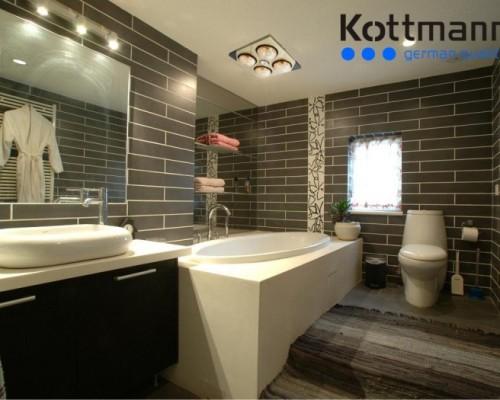 Phối cảnh đèn sưởi nhà tắm âm trần 4 bóng Kottmann K4B-T