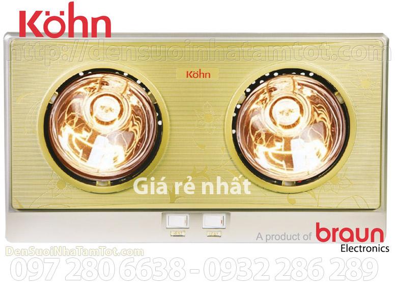 Đèn sưởi nhà tắm 2 bóng Braun Kohn KN02G giá rẻ nhất