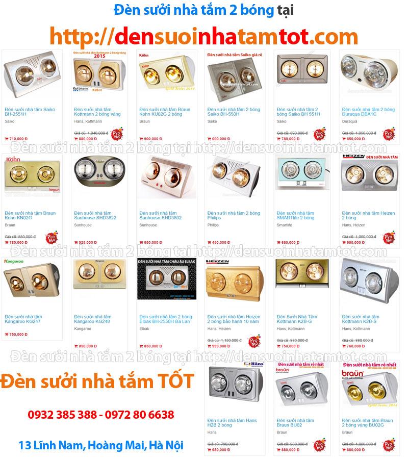 đèn sưởi nhà tắm 2 bóng tại densuoinhatamtot.com