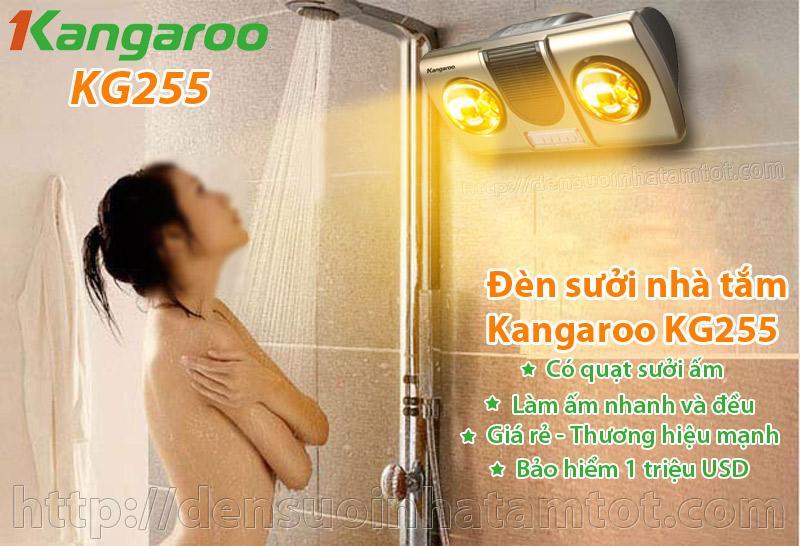 đèn sưởi nhà tắm Kangaroo KG255 2 bóng có quạt sưởi thổi gió nóng