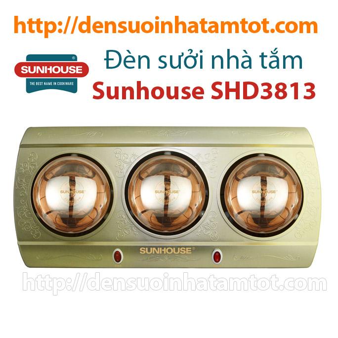 Đèn sưởi nhà tắm Sunhouse SHD3813 3 bóng vàng mới nhất 2015