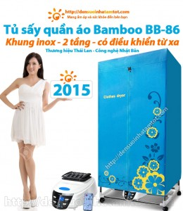 máy sấy tủ sấy quần áo Bamboo BB-86 Thái Lan khung inox 2 tầng có điiều khiển từ xa được chọn mua nhiều 2015