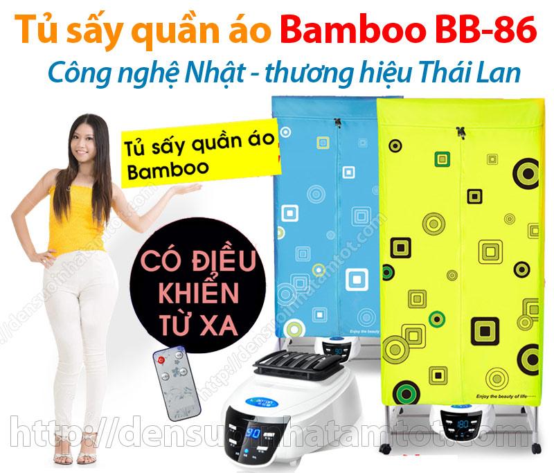 Tủ sấy quần áo Bamboo Thái Lan khung inox 2 tầng có điều khiển từ xa
