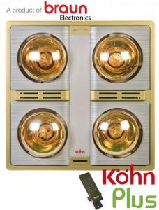 Đèn sưởi nhà tắm Braun Kohn KN04GR 4 bóng âm trần có điều khiển giá rẻ