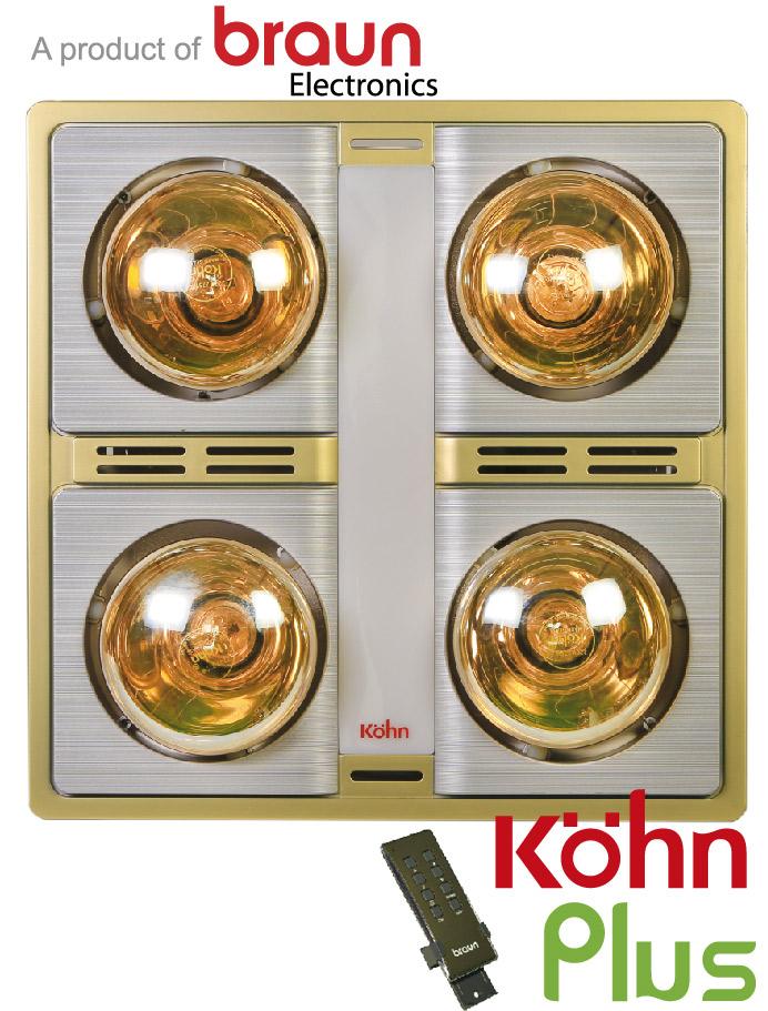 Đèn sưởi nhà tắm Kohn KN04GR âm trần có điều khiển
