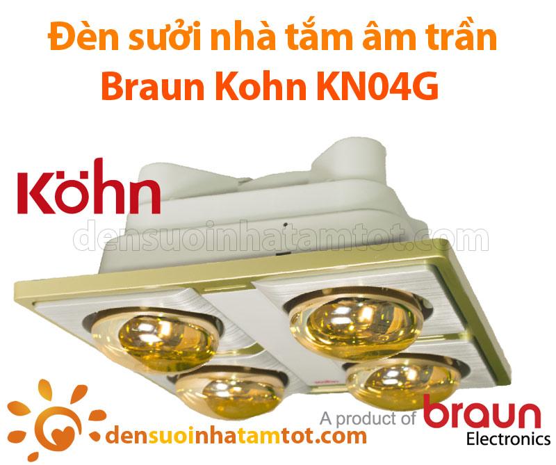 Đèn sưởi nhà tắm âm trần Braun Kohn KN04G