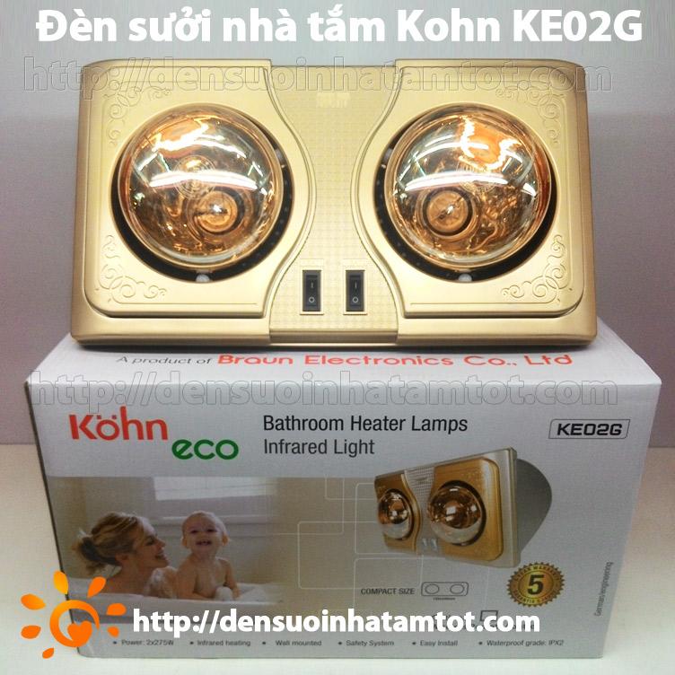 Đèn sưởi nhà tắm Kohn KE02G 2 bóng vàng mới nhất