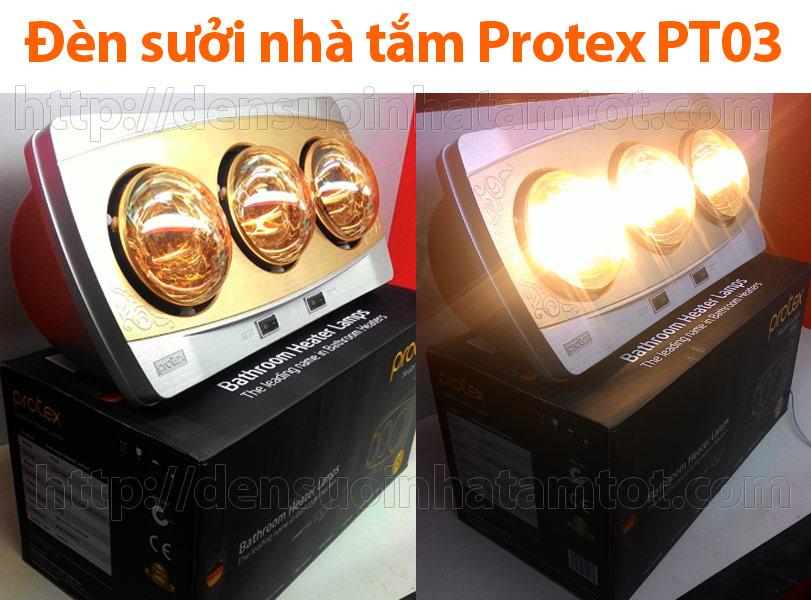Đèn sưởi nhà tắm Protex PT03 3 bóng vàng loại tốt tắt và bật bóng