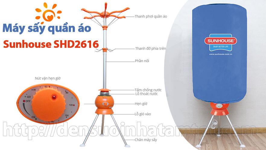 Máy sấy quần áo Sunhouse SHD2616 có tia UV diệt khuẩn