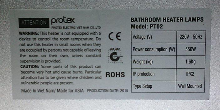 thông số kỹ thuật đèn sưởi nhà tắm protex pt02 2 bóng