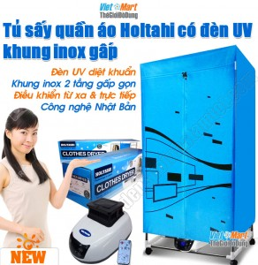 Tu say quan ao Holtashi co den UV diet khuan khung inox 2 tang co dieu khien
