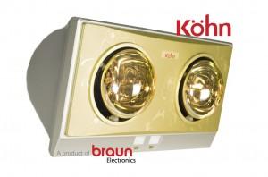 Đèn sưởi nhà tắm Kohn KP02G 2 bóng mạ vàng giảm chói chính hãng