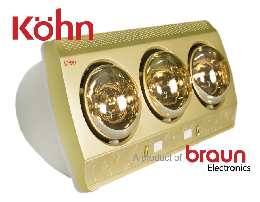 Đèn sưởi nhà tắm Kohn KP03G 3 bóng mạ vàng công nghệ của Đức