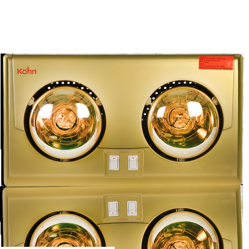 Đèn sưởi nhà tắm Kohn Luxury KU02G 2 bóng mạ vàng